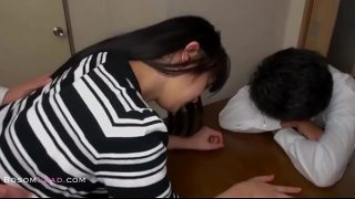 Asian housewife banged in front of sleeping sucker husband